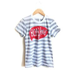 Bonjour - Hand Stenciled Striped Word Bubble Rolled Cuffs Hello Tee in Heather Grey and White from Alyssa Zukas