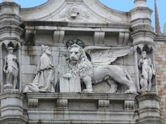 Doge's Palace: The Lion of St. Mark on the West Facade. Venice, Italy