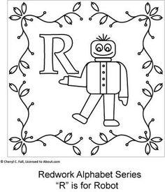 Redwork Alphabet Series - Part 3: R is for Robot