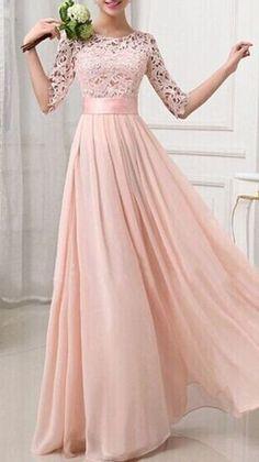 lace bridesmaid dress, cheap prom dress, blush pink prom dress, long sleeve prom dress