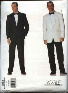 Vogue Sewing Pattern 2383 Mens Size 44-46-48 Jacket Pants Trousers Formal Suit Tuxedo   Vogue+Sewing+Pattern+2383+Mens+Size+44-46-48+Jacket+Pants+Trousers+Formal+Suit+Tuxedo
