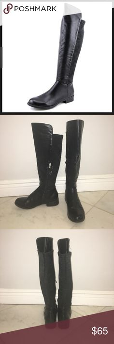XOXO Over the knee Boot Black leather over the knee boot. Size 8, with super cute and unique scrunching / Armor look on the back.* BUNDEL DISCOUNTS - WILLING TO NEGOTIATE* Macy's Shoes Over the Knee Boots