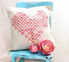 Painted cross stitch little Valentine pillow by @Lucy Kemp (Craftberry Bush).