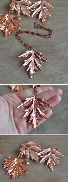 Real wormwood leaf pendant, electroformed Botanical Jewelry, Copper Dipped…