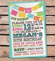 Mexican Flag Fiesta Birthday Invitation & by DelightInvite on Etsy, $2.49