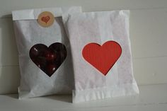 Off white paper bag with a heart window set of 20 bags complete with cellophane bags --- Party favors, birthday party or wedding favor