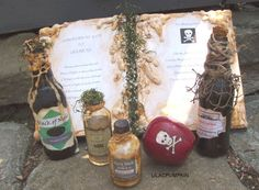 Snow White Evil Queen Witch Spell Book with Potion Bottles....this would be so cute to decorate your house for Halloween.