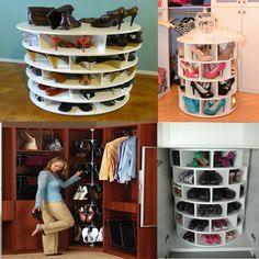 Recycle Reuse Renew Mother Earth Projects: How to make a lazy susan for Shoes - elegant decor Recycled House, Home Goods Decor, Home Decor, Shoe Storage Cabinet, Lazy Susan, Master Closet, Organizing Your Home, Look Cool, Diy Furniture