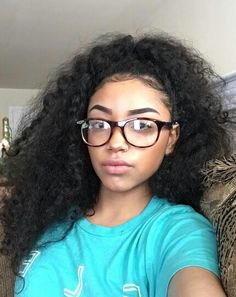 Hairstyles With Glasses, Up Hairstyles, Pretty Mixed Girls, Curly Hair Styles, Natural Hair Styles, Black Curly Hair, Girls With Glasses, About Hair, Black Women Hairstyles