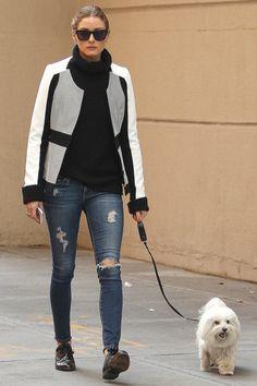 Dog walking chic.