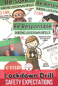 This lockdown drill rules and expectations resource is full of posters and materials to accompany the teaching of your school's PBIS rules. I like to use these materials from the very first day of school to teach my students the right way to follow our lockdown drill safety procedure. From moving out of sight, to staying calm, these materials are sure to teach your students how to be safe during a lockdown drill! Classroom Expectations, Positive Behavior, First Day Of School, Classroom Management, Teacher Resources, Announcement, Drill, No Response, Safety