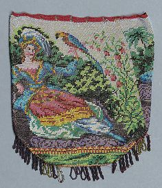 ANTIQUE VICTORIAN MICRO BEADED BAG / PURSE - BEADWORK LADY & PARROT in Clothes, Shoes & Accessories, Vintage Clothing & Accessories, Vintage Accessories, Wallets & Purses   eBay