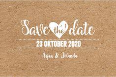 Originele liggende save the date kaart met grafische uitstraling, kraft design op de ondergrond, witte letters hartjes en lijntjes. Geheel zelf aan te passen. Gratis verzending in Nederland en België.