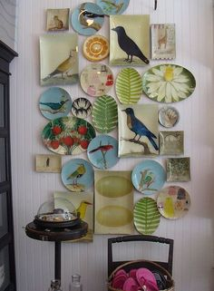 If you're searching for an easy and inexpensive easy way to decorate a wall, consider mounting a plate collage. Choose a colorful collection to brighten up a space — or light plates against a dark wall to create a uniquely sophisticated look. Plate Collage, Wall Collage, Wall Art, Collage Ideas, Plates On Wall, Plate Wall, Hanging Plates, Displaying Collections, Beautiful Wall