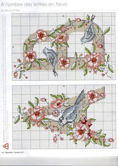 Cross Stitch; monogram, A, B, birds, flowers