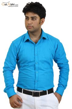 http://tinyurl.com/zs73j5l Make a Unique style by wearing this Cyan colored #Casual #shirt from the house of Siera. This slim-fit casual shirt is fashioned using cotton linen that makes it a delight for skin.club this casual shirt with Denim jeans.