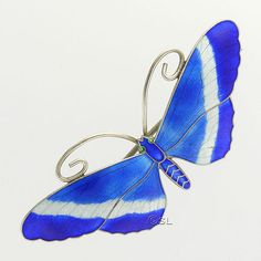 Art Deco Sterling Silver Enamel Butterfly PIn -JA