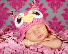 CROCHET PATTERN Baby Owl Earflap Hat all sizes by littleabbee, $4.50