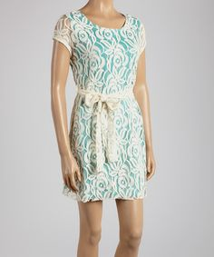 Another great find on #zulily! Young Essence Cream & Turquoise Cap-Sleeve Tunic by Young Essence #zulilyfinds