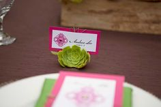 PINKS & GREENS: succulent place card