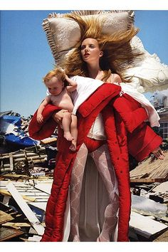 Sometimes I need to multitask between sleeping in and watching the baby----Victor and Rolf ad. campaign  (by David Lachapelle)