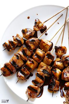 Easy Balsamic Chicken Skewers -- 4 ingredients, and perfectly sweet and savory. Plus, an amazing GIVEAWAY! | gimmesomeoven.com