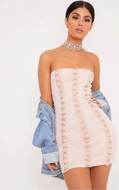 4de90334ebf70 PrettyLittleThing Hallie Nude Corset Bodycon Dress Size UK 8 SA172 HH 02   fashion  clothing