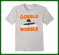 Mens Gobble 'Til You Wobble - Funny Thanksgiving Shirt  3XL Silver - Holiday and seasonal shirts (*Amazon Partner-Link)
