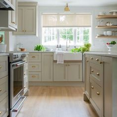 """The original kitchen had been revamped just once, in the making a gut renovation inevitable. Wikman used budget-friendly Ikea cabinetry upgraded with custom doors by Semihandmade. Farmhouse Sink Kitchen, Shaker Kitchen, Ikea Kitchen, Kitchen Interior, Kitchen Ideas, Ikea Cabinets, Shaker Cabinets, Farrow And Ball Kitchen, Cabinet Fronts"