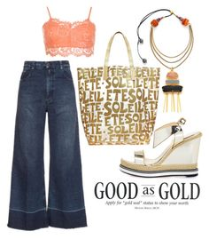 """""""good as GOLD"""" by auntmissymusing on Polyvore featuring Glamourpuss NYC, Lizzie Fortunato, WearAll, Nicholas Kirkwood, Rachel Comey, shine and goodasgold"""