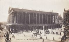 A very old picture of the Birmingham Town Hall. Birmingham City Centre, Birmingham England, Walsall, West Midlands, Local History, England Uk, Town Hall, Old Pictures, Historical Photos
