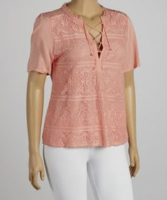 Another great find on #zulily! Peach Short-Sleeve Top - Plus by IRE #zulilyfinds