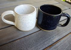 speckled mugs...