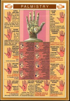 Easy reference guide for palm reading. You can now read your own palms.