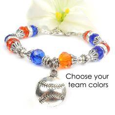 Team Spirit Baseball Bracelet Custom Girls by ABeadedStory on Etsy Softball  Jewelry 7a7a2f547f