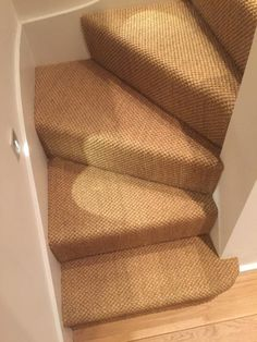 Sisal Carpet to Stairs in Private Residence Striped Carpet Stairs, Patterned Stair Carpet, Stairway Carpet, Striped Carpets, Hallway Carpet, Narrow Hallway Decorating, Sisal Carpet, Entry Stairs, Natural Flooring