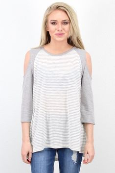 dce1fe9ce905f We love stripes and this open   cold shoulder top is too cute! Raglan look.  TFL