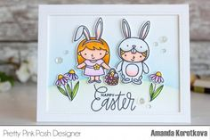 Pretty Pink Posh: Easter Theme Week Day 4. Easter Friends stamp set and a couple of stamps from the Bee friends set. I colored all the images with Copic Markers and added a few details with colored pencils. I framed the card using the Stitched Notes die set. I also attached a few Sparkling clear sequins in different sizes as a final touch.