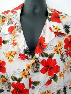 Hilo Hattie Hawaiian Shirt Mens 5XL Tan Red Hibiscus Flower Cancel Postage Stamp #HiloHattie #Hawaiian