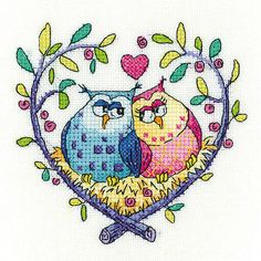 Heritage crafts birds of a feather kit punto croce - love gufi (aida Cross Stitch Kits Uk, Mini Cross Stitch, Cross Stitch Supplies, Cross Stitch Cards, Cross Stitch Rose, Cross Stitch Patterns, Crochet Patterns, Hand Embroidery Kits, Cross Stitch Embroidery