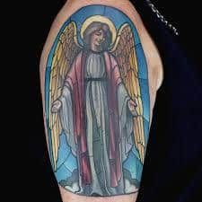 What does stained glass tattoo mean? We have stained glass tattoo ideas, designs, symbolism and we explain the meaning behind the tattoo. Ink Master Tattoos, Stained Glass Tattoo, Tattoo Artists, Chicago, Fantasy, Check, Ideas, Best Tattoo Ever, Man Women