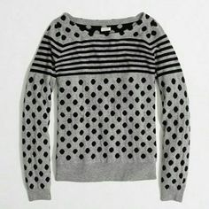 J. Crew Gray Sweater With polka dot and stripes. Very good condition J. Crew Sweaters Crew & Scoop Necks