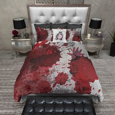 Our Skull, Octopus, and Artist Designed Duvet Covers and Comforters are soft, lightweight, and perfect way to add beautiful design to your bedroom. Bedroom Themes, Bedroom Decor, Emo Bedroom, Gothic Bedroom, Horror Room, Goth Home Decor, Gypsy Decor, Horror Decor, Duvet Bedding Sets