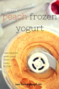 5 Minute Peach Frozen Yogurt: just frozen peaches, lemon juice, greek yogurt, and a bit of honey. Awesome snack or last minute dessert.