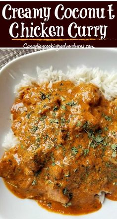 "This ""Creamy Coconut Curry Chicken"" is made with coconut milk vs cream. It can be made in your pressure cooker or on the stovetop and is better than takeout! Creamy Chicken Curry, Creamy Coconut Chicken, Butter Chicken, Thai Coconut Curry Chicken, Chicken Curry With Rice, Curry Rice, Coconut Milk Curry, Thai Chicken, Coconut Cream"
