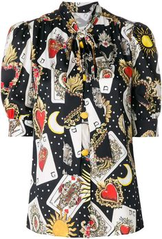 Dolce & Gabbana playing cards print blouse