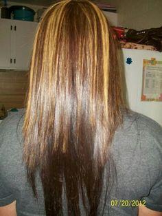 Medium Brown hair with Carmel highlights