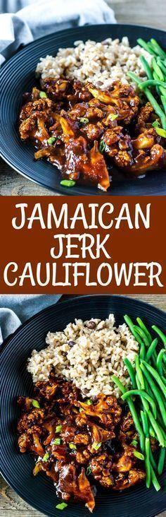 Jamaican Jerk Cauliflower vegan, gluten-free Healthy Dinner Ideas for Delicious Night & Get A Health Deep Sleep Veggie Dishes, Vegetable Recipes, Vegetarian Recipes, Healthy Recipes, Free Recipes, Gluten Free Vegan Recipes Dinner, Vegetable Appetizers, Paleo Dinner, Vegan Gluten Free