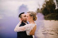 Purple smoke bomb for wedding photos - Our Favorite Instagram Posts 6.2.17   WeddingDay Magazine