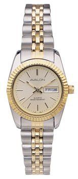 Avalon Ladies Two-Tone Prestige Series Bracelet Watch # 5420TX Avalon. $19.95. Nice cut clean gold-tone dial with stick markers. This beautiful watch features a gold-tone grooved bezel with two-tone bracelet. Gift Boxed with our famous Lifetime Limited Warranty. 3 ATM (100 ft) water resistant. Accurate Japan Analog Day-Date Movement. Save 75% Off!